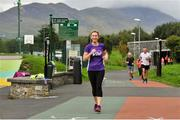 15 September 2018; Pamela Treacy, Vhi, pictured at the Westport parkrun where Vhi hosted a special event to celebrate their partnership with parkrun Ireland.  Vhi ambassador and four-time All-Ireland Final winner, Cora Staunton was on hand to lead the warm up for parkrun participants before completing the 5km free event. parkrunners enjoyed refreshments post event at the Vhi Relaxation Area where a physiotherapist took participants through a post event stretching routine. parkrun in partnership with Vhi support local communities in organising free, weekly, timed 5k runs every Saturday at 9.30am.To register for a parkrun near you visit www.parkrun.ie.  Photo by Ray Ryan/Sportsfile