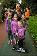 15 September 2018; Sinead Higgins with, from left, Lauren Clarke, Grainne Burke, Elise, and Alwyn Vanrens, from Westport, Mayo, pictured at the Westport parkrun where Vhi hosted a special event to celebrate their partnership with parkrun Ireland. Vhi ambassador and four-time All-Ireland Final winner, Cora Staunton was on hand to lead the warm up for parkrun participants before completing the 5km free event. parkrunners enjoyed refreshments post event at the Vhi Relaxation Area where a physiotherapist took participants through a post event stretching routine.   parkrun in partnership with Vhi support local communities in organising free, weekly, timed 5k runs every Saturday at 9.30am.To register for a parkrun near you visit www.parkrun.ie. Photo by Ray Ryan/Sportsfile