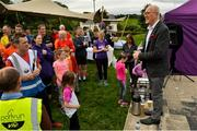 15 September 2018; Dermot Langan, Tourism, Events & Enterprise, Mayo County Council, pictured speaking at the Westport parkrun where Vhi hosted a special event to celebrate their partnership with parkrun Ireland.  Vhi ambassador and four-time All-Ireland Final winner, Cora Staunton was on hand to lead the warm up for parkrun participants before completing the 5km free event. parkrunners enjoyed refreshments post event at the Vhi Relaxation Area where a physiotherapist took participants through a post event stretching routine.   parkrun in partnership with Vhi support local communities in organising free, weekly, timed 5k runs every Saturday at 9.30am.To register for a parkrun near you visit www.parkrun.ie.  Photo by Ray Ryan/Sportsfile