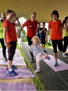 15 September 2018; Penny McCabe, age 2, with, from left, Kate Rooney, Tony McCabe and Paula Cannon pictured at the Westport parkrun where Vhi hosted a special event to celebrate their partnership with parkrun Ireland.Vhi ambassador and four-time All-Ireland Final winner, Cora Staunton was on hand to lead the warm up for parkrun participants before completing the 5km free event. parkrunners enjoyed refreshments post event at the Vhi Relaxation Area where a physiotherapist took participants through a post event stretching routine. parkrun in partnership with Vhi support local communities in organising free, weekly, timed 5k runs every Saturday at 9.30am.To register for a parkrun near you visit www.parkrun.ie.  Photo by Ray Ryan/Sportsfile