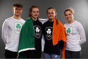 15 September 2018; A new name and logo have been unveiled for the National Olympic Committee (NOC) of the island of Ireland with a name change from The Olympic Council of Ireland to Olympic Federation of Ireland. A modernised Olympic crest will also be sported by the Team Ireland athletes for the first time at the Youth Olympic Games in Buenos Aires next month. The Team Ireland athletes at the Youth Olympic Games will be the first to sport the new logo. The Youth Olympic Games take place in the Buenos Aires, Argentina, from the 6 – 18 October 2018. Pictured after receiving their new gear ahead of the Games is swim Ireland team, from left, Robert Powell, Niamh Coyne, Mona McSharry and Tanya Watson at the Irish Institute of Sport in Abbotstown, Dublin.  Photo by Eóin Noonan/Sportsfile