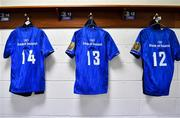 15 September 2018; The jerseys of Jordan Larmour, Garry Ringrose and Robbie henshaw hang in the dressing room prior to the Guinness PRO14 Round 3 match between Leinster and Dragons at the RDS Arena in Dublin. Photo by Brendan Moran/Sportsfile