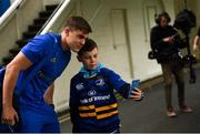 15 September 2018; Garry Ringrose of Leinster poses for a photo with Leinster supporter Cillian McGarvey, age 11, from Co Offaly prior to the Guinness PRO14 Round 3 match between Leinster and Dragons at the RDS Arena in Dublin. Photo by David Fitzgerald/Sportsfile