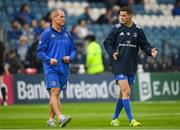 15 September 2018; Leinster senior coach Stuart Lancaster, left, and Jonathan Sexton prior to the Guinness PRO14 Round 3 match between Leinster and Dragons at the RDS Arena in Dublin. Photo by David Fitzgerald/Sportsfile
