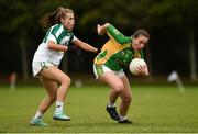 15 September 2018; Shauna Golden of Kilmovee Shamrocks, Co Mayo, in action against Niamh Darcy of Clonguish, Co Longford, in the Intermediate Shield Semi-Final during the 2018 LGFA All-Ireland Club 7s at Naomh Mearnóg & St Sylvesters in Dublin.    Photo by Piaras Ó Mídheach/Sportsfile