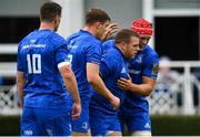 15 September 2018; Seán Cronin of Leinster celebrates scoring his side's first try with Garry Ringrose and Josh van der Flier during the Guinness PRO14 Round 3 match between Leinster and Dragons at the RDS Arena in Dublin. Photo by Brendan Moran/Sportsfile