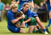 15 September 2018; Hannah Gullane of Connacht is tackled by Jessica Keating, left, and Ciara Carbery of Leinster during the U18 Girls Interprovincial Championship match between Leinster and connacht at Barnhall RFC in Parsonstown, Leixlip, Co. Kildare. Photo by Barry Cregg/Sportsfile