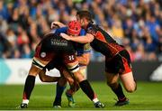 15 September 2018; Josh van der Flier of Leinster is tackled by Cory Hill, left, and Adam Warren of Dragons during the Guinness PRO14 Round 3 match between Leinster and Dragons at the RDS Arena in Dublin. Photo by Harry Murphy/Sportsfile