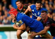 15 September 2018; Josh van der Flier of Leinster goes over to score his side's third try despite the tackle of Jack Dixon of Dragons during the Guinness PRO14 Round 3 match between Leinster and Dragons at the RDS Arena in Dublin. Photo by Brendan Moran/Sportsfile