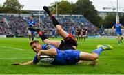 15 September 2018; Jordan Larmour of Leinster goes over to score his side's fifth try during the Guinness PRO14 Round 3 match between Leinster and Dragons at the RDS Arena in Dublin. Photo by Brendan Moran/Sportsfile