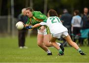 15 September 2018; Shauna Golden of Kilmovee Shamrocks, Co Mayo, in action against Clonguish, Co Longford, in the Intermediate Shield Semi-Final during the 2018 LGFA All-Ireland Club 7s at Naomh Mearnóg & St Sylvesters in Dublin.    Photo by Piaras Ó Mídheach/Sportsfile