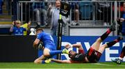 15 September 2018; Jordan Larmour of Leinster goes over to score his side's fifth try during the Guinness PRO14 Round 3 match between Leinster and Dragons at the RDS Arena in Dublin. Photo by David Fitzgerald/Sportsfile