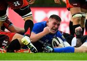 15 September 2018; Tadhg Furlong of Leinster celebrates after scoring his side's seventh try during the Guinness PRO14 Round 3 match between Leinster and Dragons at the RDS Arena in Dublin. Photo by Brendan Moran/Sportsfile
