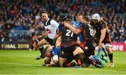 15 September 2018; Tadhg Furlong of Leinster goes over to score his side's sixth try during the Guinness PRO14 Round 3 match between Leinster and Dragons at the RDS Arena in Dublin. Photo by David Fitzgerald/Sportsfile