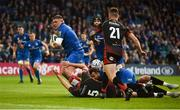 15 September 2018; Tadhg Furlong of Leinster on his way to scoring his side's sixth try during the Guinness PRO14 Round 3 match between Leinster and Dragons at the RDS Arena in Dublin. Photo by David Fitzgerald/Sportsfile