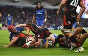 15 September 2018; Josh van der Flier of Leinster, left, celebrates after helping team-mate Scott Fardy, centre, push through to score their side's seventh try during the Guinness PRO14 Round 3 match between Leinster and Dragons at the RDS Arena in Dublin. Photo by David Fitzgerald/Sportsfile