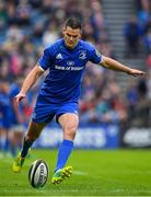 15 September 2018; Jonathan Sexton of Leinster kicks a conversion during the Guinness PRO14 Round 3 match between Leinster and Dragons at the RDS Arena in Dublin. Photo by Brendan Moran/Sportsfile