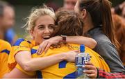 15 September 2018; Mary Tierney, behind, and Eva O'Dea of Banner Ladies, Ennis, Co Clare, celebrating beating Emyvale, Co Monaghan, in the Senior Championship Final during the 2018 LGFA All-Ireland Club 7s at Naomh Mearnóg & St Sylvesters in Dublin.    Photo by Piaras Ó Mídheach/Sportsfile