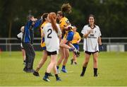 15 September 2018; Gráinne Nolan, centre, of Banner Ladies, Ennis, Co Clare, celebrates with team mates after beating Emyvale, Co Monaghan, in the Senior Championship Final during the 2018 LGFA All-Ireland Club 7s at Naomh Mearnóg & St Sylvesters in Dublin.    Photo by Piaras Ó Mídheach/Sportsfile