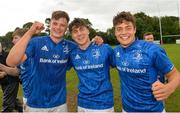 15 September 2018; Cian Prendergast, Max O'Reilly and Luis Faria of Leinster celebrate after the U19 Interprovincial Championship match between Ulster and Leinster at Newforge Country Club in Belfast. Photo by Oliver McVeigh/Sportsfile