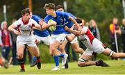 15 September 2018; David O'Brien of Leinster is tackled by Stephen Kelly of Ulster during the U19 Interprovincial Championship match between Ulster and Leinster at Newforge Country Club in Belfast. Photo by Oliver McVeigh/Sportsfile