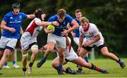 15 September 2018; Bobby Sheehan of Leinster is tackled by Ryan O'Neill and Ben McCrossan of Ulster during the U19 Interprovincial Championship match between Ulster and Leinster at Newforge Country Club in Belfast. Photo by Oliver McVeigh/Sportsfile