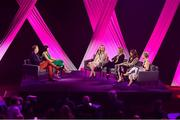 15 September 2018; A panel discussion involving, from left, Presenters Dáithí Ó Sé and Gráinne McElwain, Paralympic Swimmer Ellen Keane, Ireland Women's Hockey player Nicci Daly, Ireland Women's rugby player Fiona Coughlan and Former Cork Ladies footballer Valerie Mulcahy during the LIVE from The Mansion House: 'Seó Beo Pheil na mBan le Lidl' event at the Mansion House in Dublin. Photo by Sam Barnes/Sportsfile
