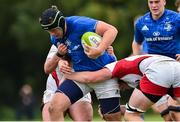 15 September 2018; Ryan McMahon of Leinster is tackled by Ben McCrossan and Conor McMenamin of Ulster during the U19 Interprovincial Championship match between Ulster and Leinster at Newforge Country Club in Belfast. Photo by Oliver McVeigh/Sportsfile