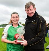 15 September 2018; Eddie Ryan from Advance Pitstop presents Megan Smyth-Lynch of Peamount United with her players of the match trophy after the Continental Tyres Women's National League Cup Final between Wexford Youths at Peamount United at Ferrcarrig Park in Wexford. Photo by Matt Browne/Sportsfile