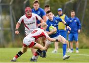 15 September 2018; Mark O'Brien of Leinster is tackled by Lewis Finlay of Ulster during the U19 Interprovincial Championship match between Ulster and Leinster at Newforge Country Club in Belfast. Photo by Oliver McVeigh/Sportsfile