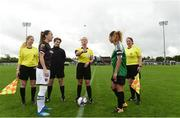 15 September 2018; Referee Paula Brady with Wexford Youths captain Kylie Murphy and Peamount United captain Louise Corrigan before the Continental Tyres Women's National League Cup Final match between Wexford Youths at Peamount United at Ferrcarrig Park in Wexford. Photo by Matt Browne/Sportsfile