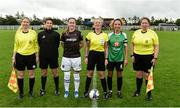 15 September 2018; Referee Paula Brady with Wexford Youths captain Kylie Murphy and Peamount United captain Louise Corrigan before the Continental Tyres Women's National League Cup Final between Wexford Youths at Peamount United at Ferrcarrig Park in Wexford. Photo by Matt Browne/Sportsfile