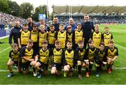 15 September 2018; Bank of Ireland Half-Time minis team Clondalkin RFC with Leinster players Cian Healy and Dan Leavy prior to the Guinness PRO14 Round 3 match between Leinster and Dragons at the RDS Arena in Dublin. Photo by David Fitzgerald/Sportsfile