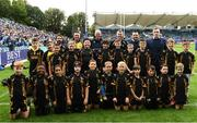 15 September 2018; Bank of Ireland Half-Time minis team Wesltmanstown with Leinster players Cian Healy and Dan Leavy prior to the Guinness PRO14 Round 3 match between Leinster and Dragons at the RDS Arena in Dublin. Photo by David Fitzgerald/Sportsfile