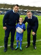 15 September 2018; Mascot James O'Reilly with Leinster players Cian Healy and Dan Leavy prior to the Guinness PRO14 Round 3 match between Leinster and Dragons at the RDS Arena in Dublin. Photo by Brendan Moran/Sportsfile