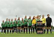 15 September 2018; Peamount United players during the national anthem before the Continental Tyres Women's National League Cup Final between Wexford Youths at Peamount United at Ferrcarrig Park in Wexford. Photo by Matt Browne/Sportsfile