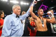 15 September 2018; David Lemieux is announced victorious over Spike O'Sullivan following their middlewieght bout at the T-Mobile Arena in Las Vegas, Nevada, USA. Photo by Tom Hogan/Golden Boy Promotions via Sportsfile
