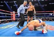 15 September 2018; David Lemieux knocks Spike O'Sullivan to the canvas during their middlewieght bout at the T-Mobile Arena in Las Vegas, Nevada, USA. Photo by Tom Hogan/Golden Boy Promotions via Sportsfile