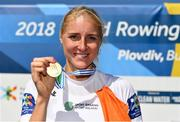 16 September 2018; Sanita Puspure of Ireland celebrates with her Gold medal following her victory in the Women's Single Sculls Final on day eight of the World Rowing Championships in Plovdiv, Bulgaria. Photo by Seb Daly/Sportsfile