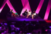 15 September 2018; A panel discussion involving, from left, TG4 presenters Dáithí Ó Sé  and Gráinne McElwain, Louise O'Neill, Mairead McGuinness and Máire Treasa Ní Cheallaigh during the LIVE from The Mansion House: 'Seó Beo Pheil na mBan le Lidl' event at the Mansion House in Dublin. Photo by Sam Barnes/Sportsfile
