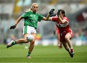16 September 2018; Áine McGrath of Limerick in action against Niamh Rice of Louth during the TG4 All-Ireland Ladies Football Junior Championship Final match between Limerick and Louth at Croke Park, Dublin. Photo by David Fitzgerald/Sportsfile