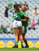 16 September 2018; Mairéad Kavanagh of Limerick, left, celebrates with team-mate Catríona Davis after scoring her side's first goal during the TG4 All-Ireland Ladies Football Junior Championship Final match between Limerick and Louth at Croke Park, Dublin. Photo by David Fitzgerald/Sportsfile