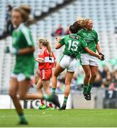 16 September 2018; Mairéad Kavanagh of Limerick celebrates after scoring her side's third goal with team-mate Catríona Davis during the TG4 All-Ireland Ladies Football Junior Championship Final match between Limerick and Louth at Croke Park, Dublin. Photo by David Fitzgerald/Sportsfile