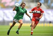 16 September 2018; Róisín Ambrose of Limerick in action against Áine Breen of Louth during the TG4 All-Ireland Ladies Football Junior Championship Final match between Limerick and Louth at Croke Park, Dublin. Photo by David Fitzgerald/Sportsfile