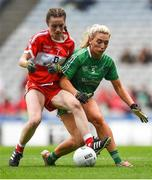 16 September 2018; Niamh Rice of Louth in action against Áine McGrath of Limerick during the TG4 All-Ireland Ladies Football Junior Championship Final match between Limerick and Louth at Croke Park, Dublin. Photo by David Fitzgerald/Sportsfile