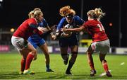 15 September 2018; Juliet Short of Leinster is tackled by Niamh Briggs, left, and Laura O'Mahony of Munster during the Women's Interprovincial Championship match between Leinster and Munster at Energia Park in Donnybrook, Dublin. Photo by Brendan Moran/Sportsfile