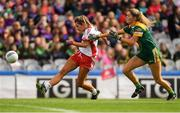 16 September 2018; Emma Jane Gervin of Tyrone in action against Kate Byrne of Meath during the TG4 All-Ireland Ladies Football Intermediate Championship Final match between Meath and Tyrone at Croke Park, Dublin. Photo by Piaras Ó Mídheach/Sportsfile