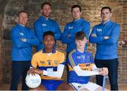 19 September 2018: Electric Ireland Minor Star Award's Judge, Kilkenny hurler Michael Fennelly is today unveiling the 2018 Electric Ireland Minor Hurling Team of the Year. The Hurling and Football Teams of the Year will be awarded at the Electric Ireland Minor Star Awards, on 29 September in Croke Park, when the Hurling and Football Players of the Year will also be announced. As the culmination of Electric Ireland's 'This is Major' campaign, the event is a major moment for the players and highlights the success achieved throughout the Championship. The Minor Star Awards will celebrate the talent of the players, as well as the dedication of the clubs, families, and communities that have supported them along the way. In attendance are, from left, Ollie Canning, Michael Fennelly, Sean Cavanagh and Daniel Goulding alongside Clare football minor player, Chiby Okoye, left, and Tipperary hurling minor player Jonny Ryan. Photo by David Fitzgerald/Sportsfile