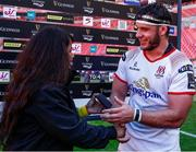 16 September 2018; Marcell Coetzee of Ulster is presented with the man of the match award by Themeka Links following the Guinness PRO14 Round 3 match between Southern Kings and Ulster at Nelson Mandela Bay Stadium in Port Elizabeth, South Africa. Photo by Michael Sheehan/Sportsfile