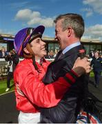 16 September 2018; Jockey Ronan Whelan and trainer Patrick Prendergast, celebrate after winning The Moyglare Stud Stakes with Skitter Scatter, at the Curragh Races on St Ledger Day at the Curragh Racecourse in Curragh, Kildare. Photo by Matt Browne/Sportsfile